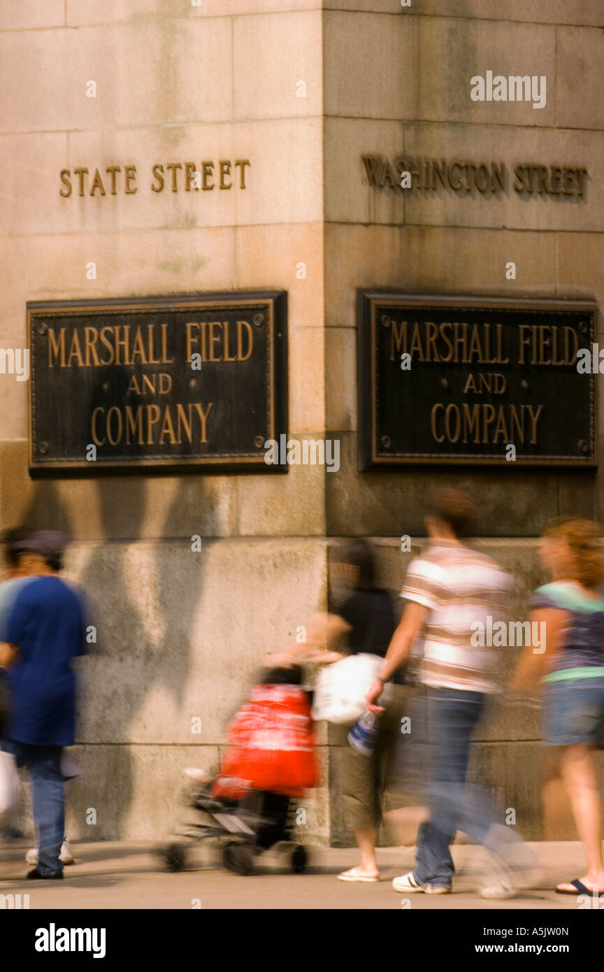 State Street shopping in front of Marshall Fields and Company in Chicago Illinois - Stock Image