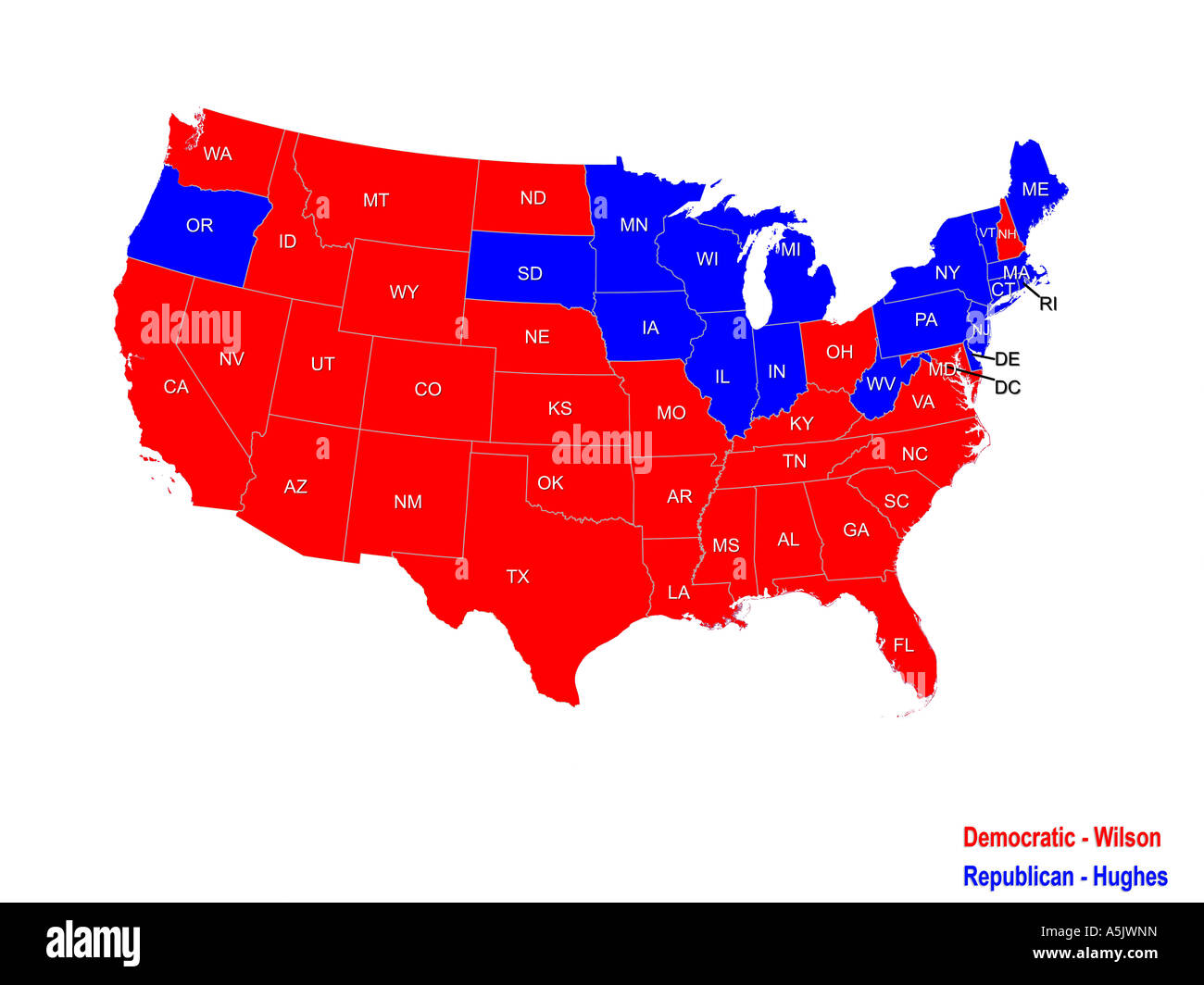 United States Presidential Election Results Map For 1916 Stock Photo ...