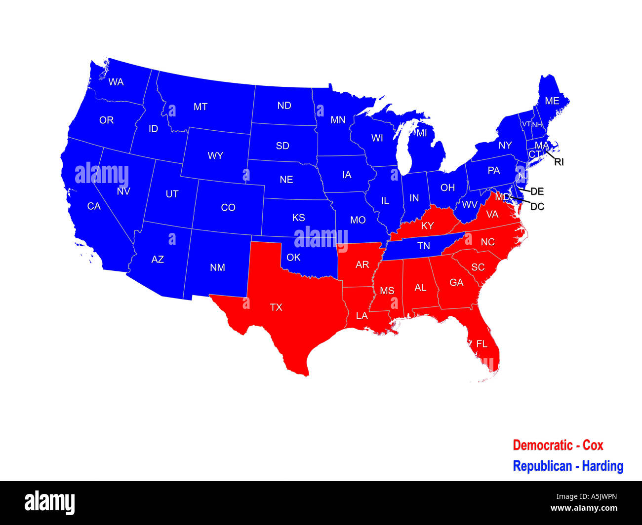 Us Map 1920.United States Presidential Election Results Map For 1920 Stock Photo