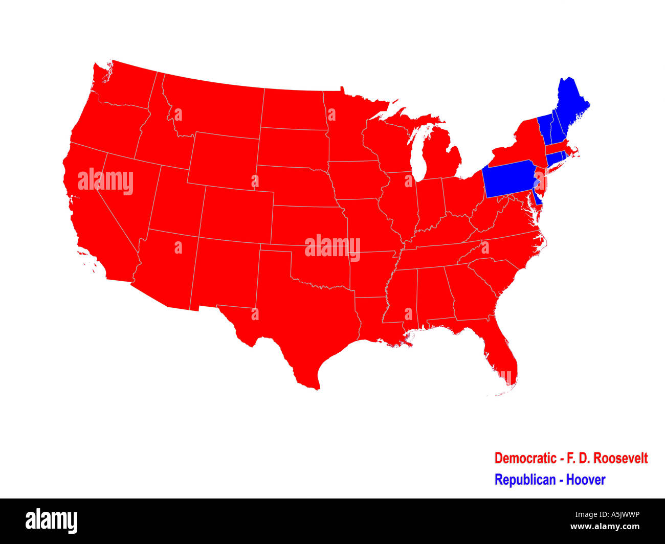 United States Presidential Election Results Map For 1932 ...