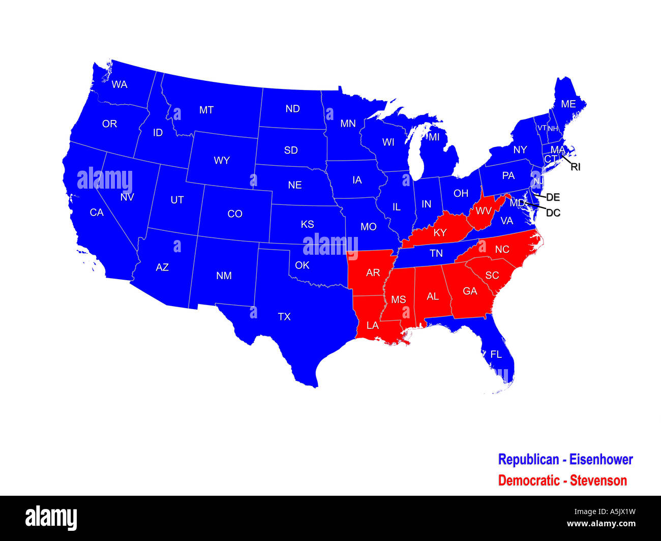 united states presidential election results map for 1952 stock photo