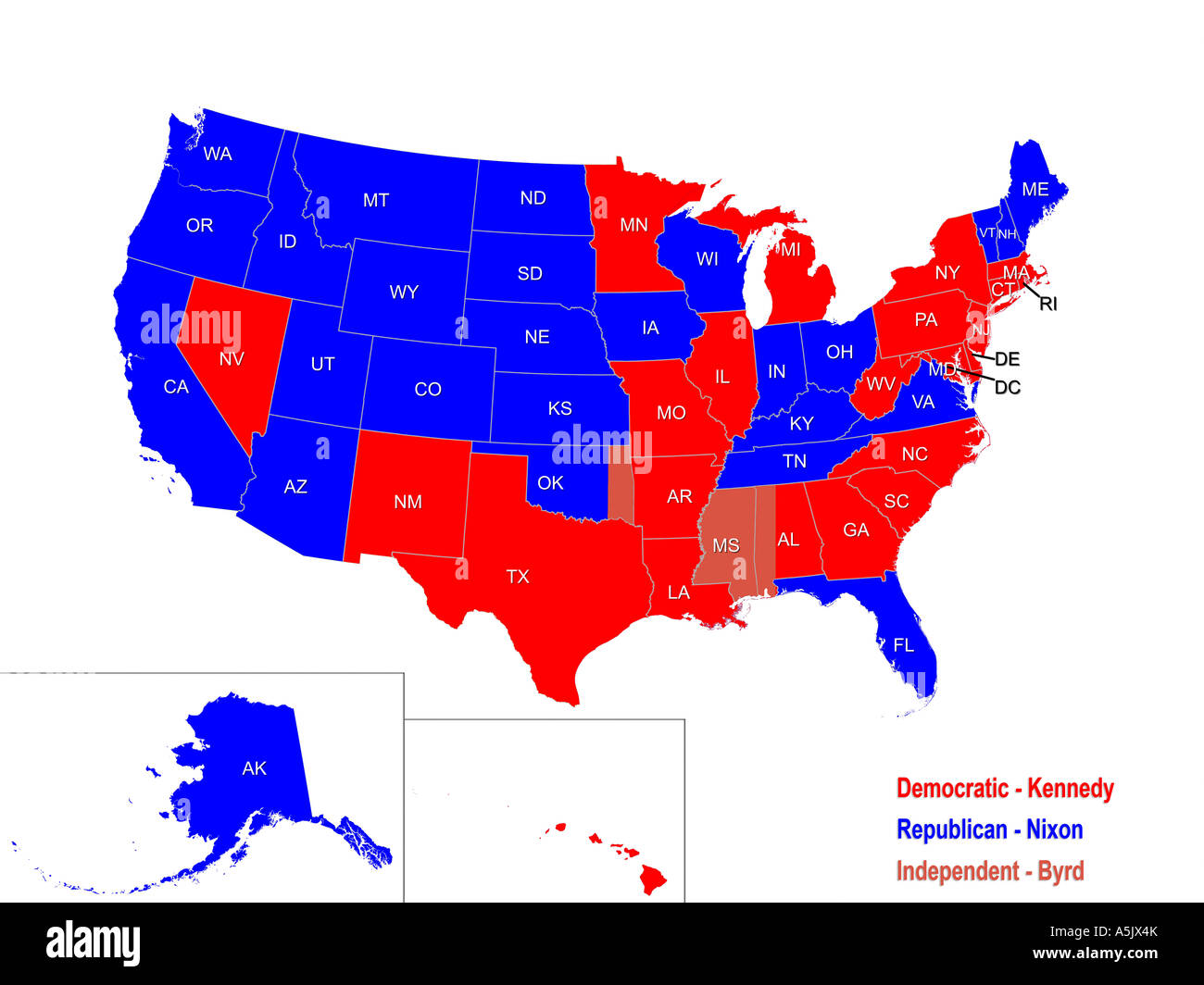 Republican Democratic State Map.United States Presidential Election Results Map For 1960 Stock Photo