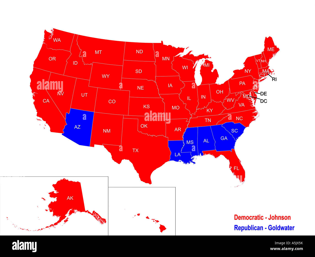 United States Presidential Election Results Map For 1964 Stock Photo