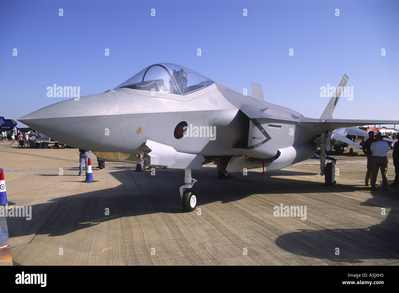 Lockheed Martin F-35 Lightning II Joint Strike Fighter aircraft replica in RAF colours - Stock Image