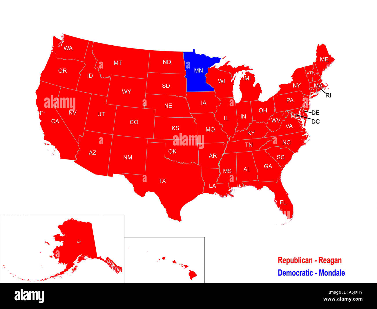 United States Presidential Election Results Map For 1984 Stock Photo on