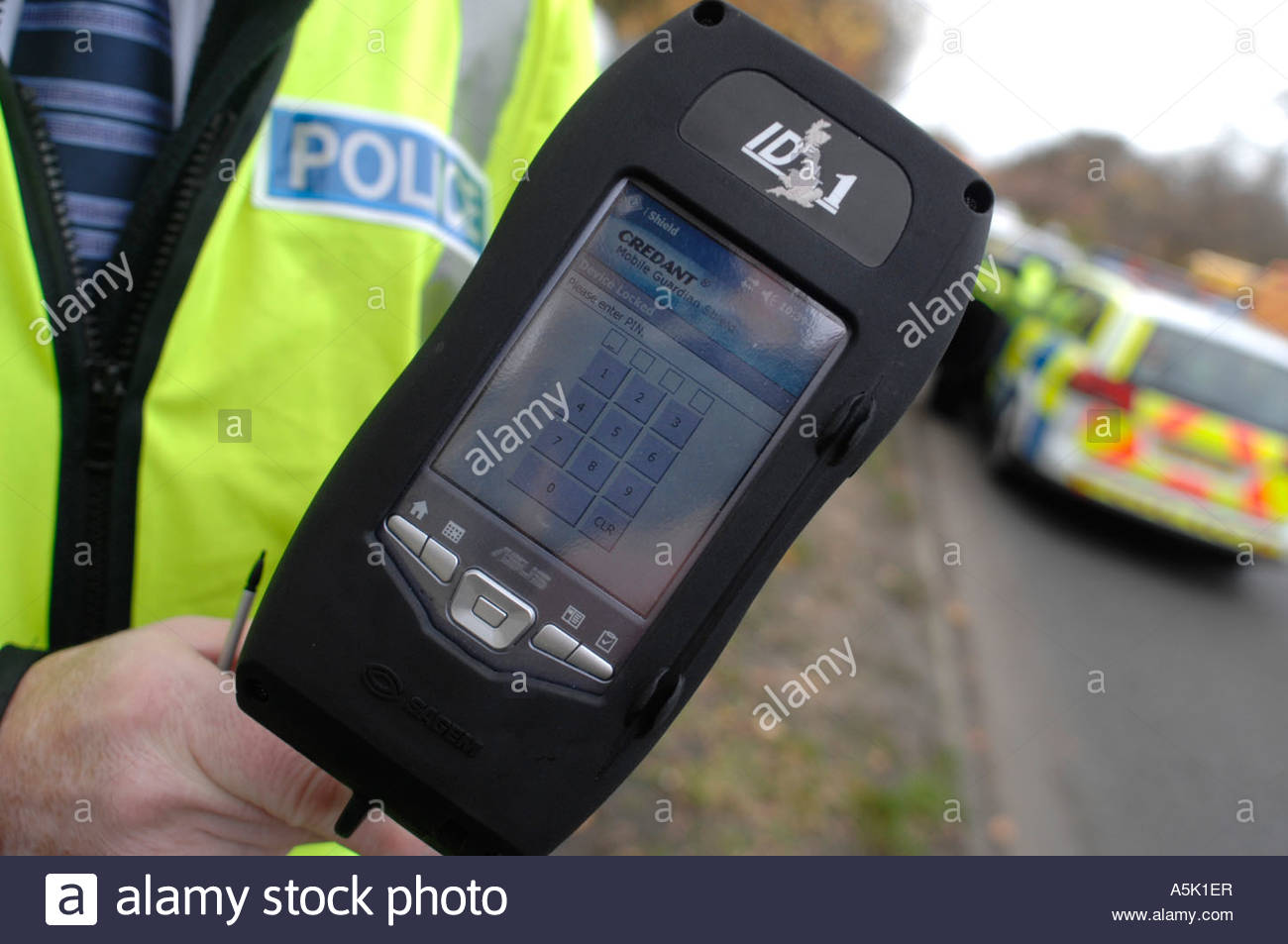 Uk Police Undertaking Traffic Stops In Which They Fingerprint Stock