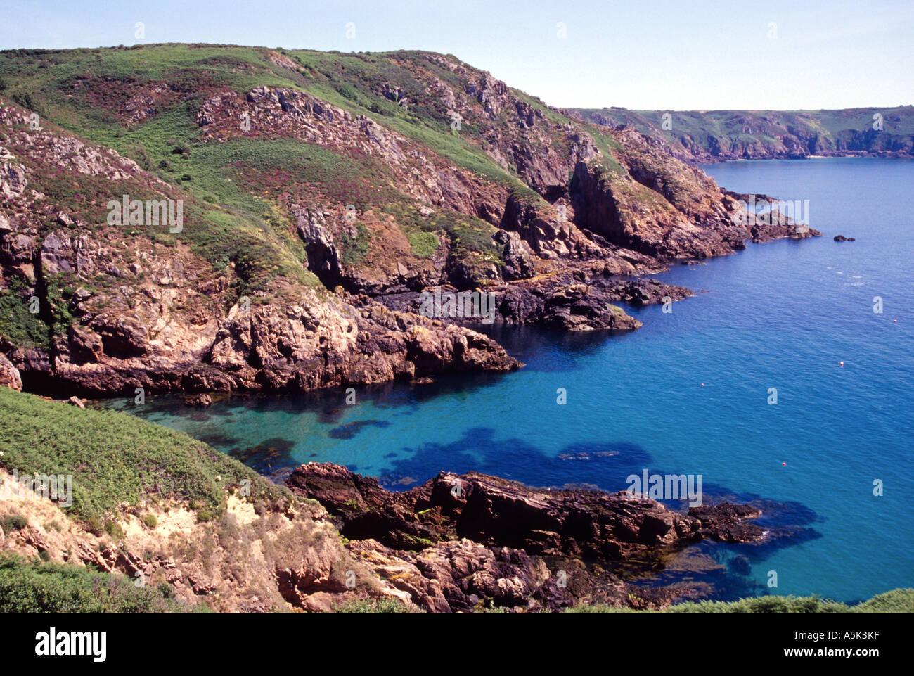 channel island guernsey petit bot bay west coast summer blue sea sky
