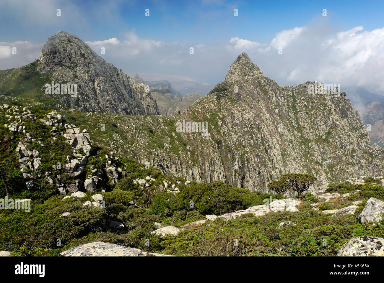 Monsoon clouds over the Hagghier, Haggier Mountains, Socotra island, UNESCO-World Heritage Site, Yemen Stock Photo