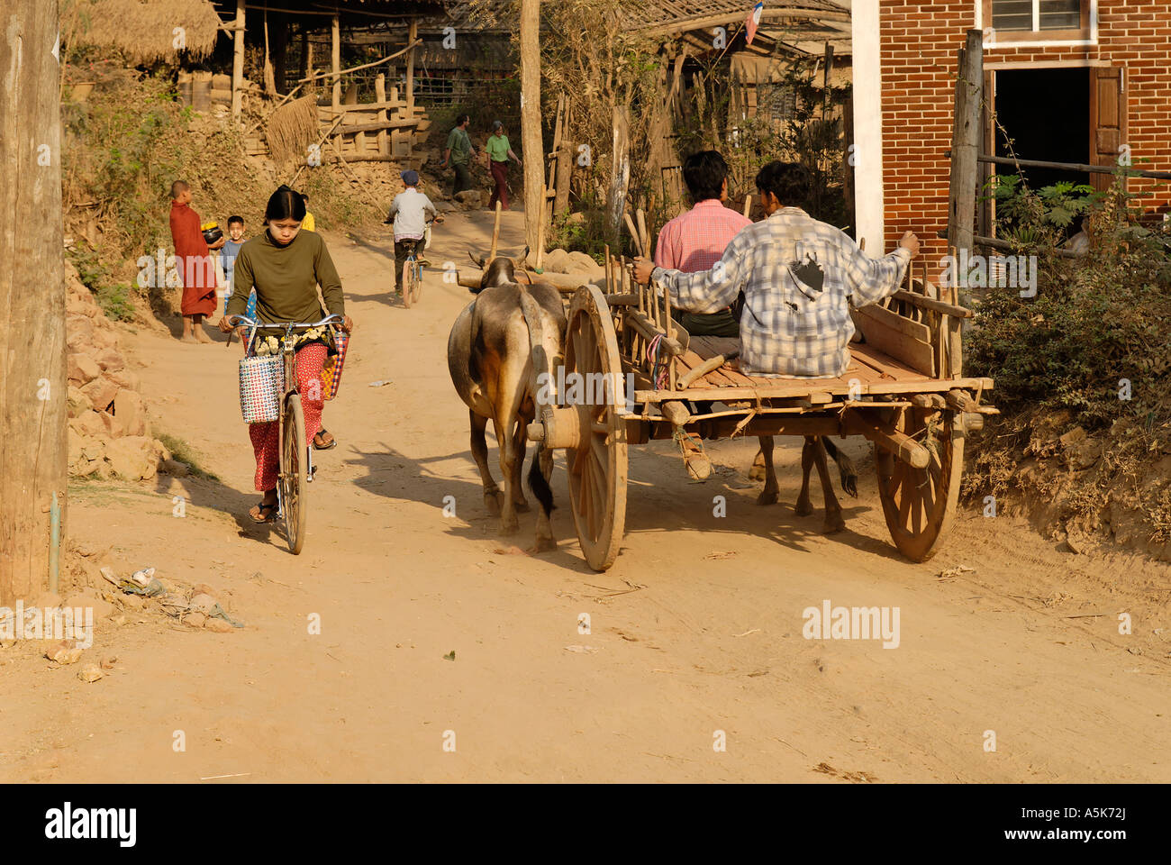 Oxcart on a dusty dirt road, Kyauk Myaung, Myanmar - Stock Image