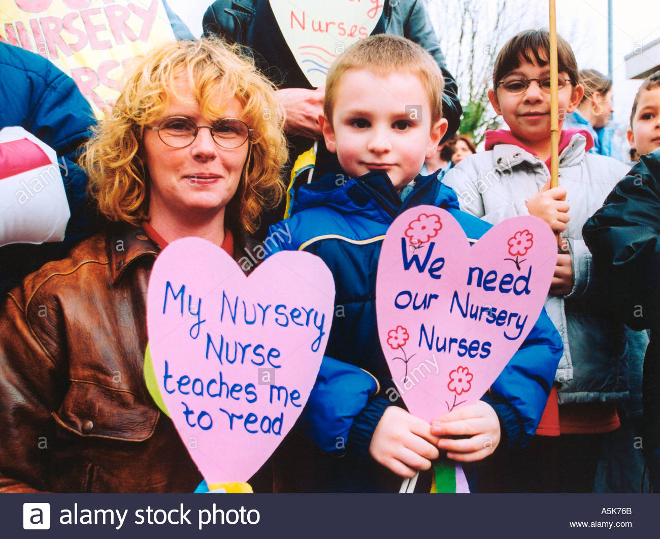 Demo to protest in cuts in nursery nurses primary school provision in Hounslow West London Feb 2002 UK - Stock Image