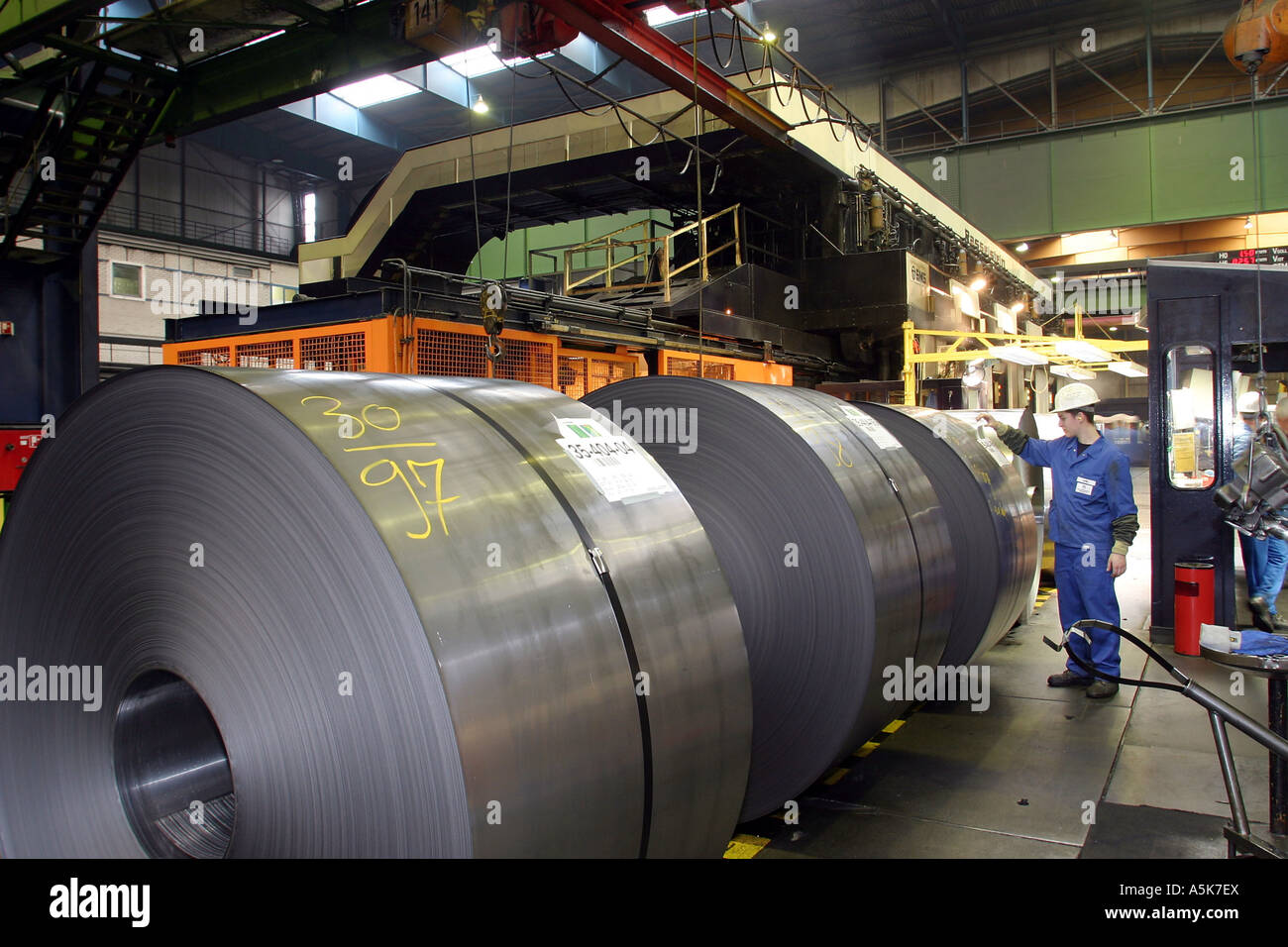 Coils of tinplate in the timplate-plant of Rasselstein-Hoesch in Andernach, Rhineland-Palatinate, Germany. - Stock Image
