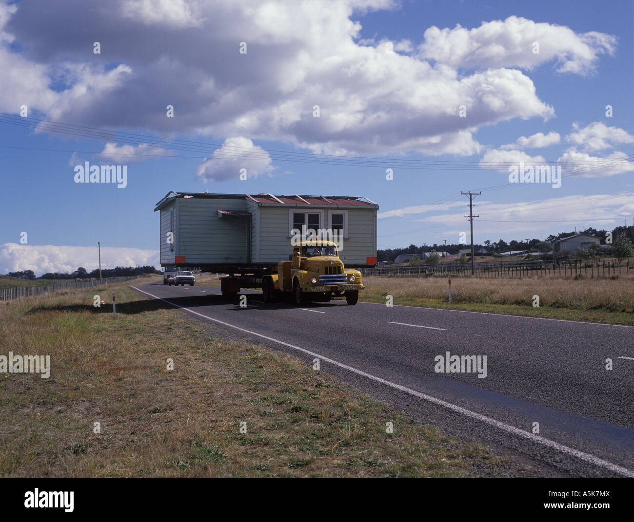 A whole house is moved, North-Island, New Zealand Stock Photo