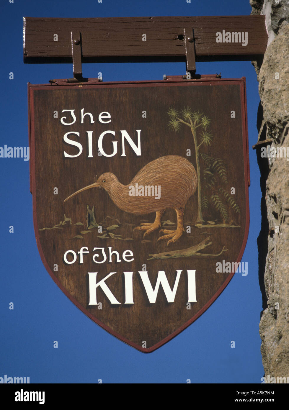'The sign of the Kiwi' near Christchurch, South-Island, New Zealand - Stock Image