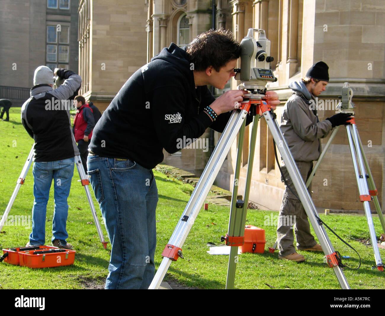 Civil Engineering Students Using Surveying Equipment At Nottingham UK