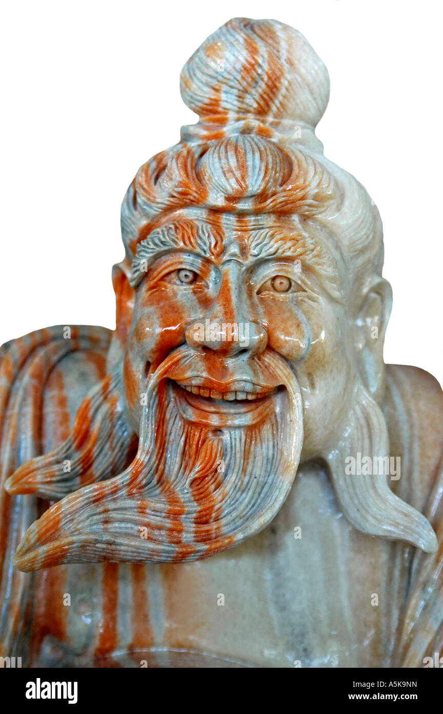 Old man with beard, marble sculpture, Danang, Vietnam Stock Photo