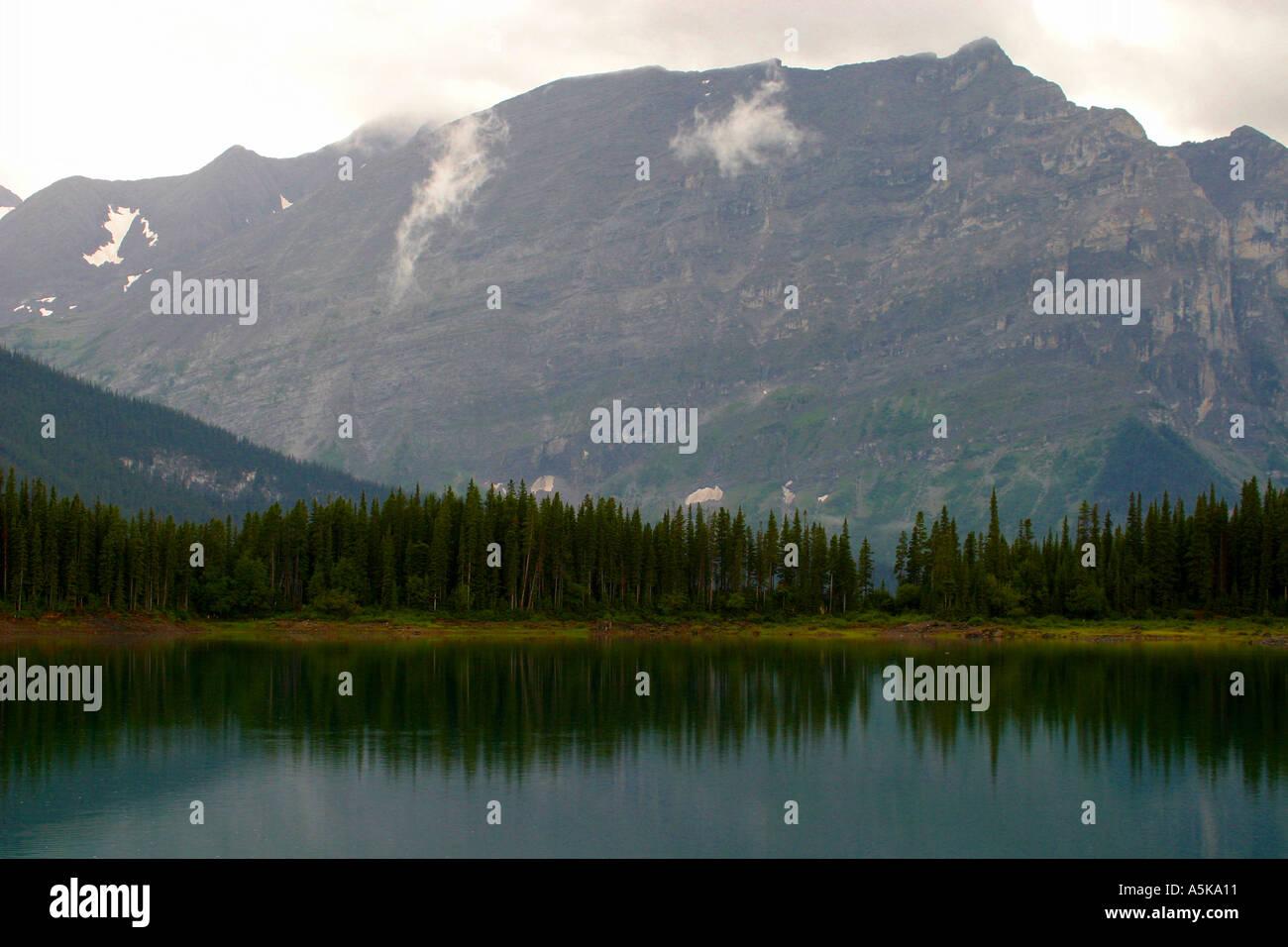 Horizontal     Kananaskis Lake in the Canadian Rockies - Stock Image