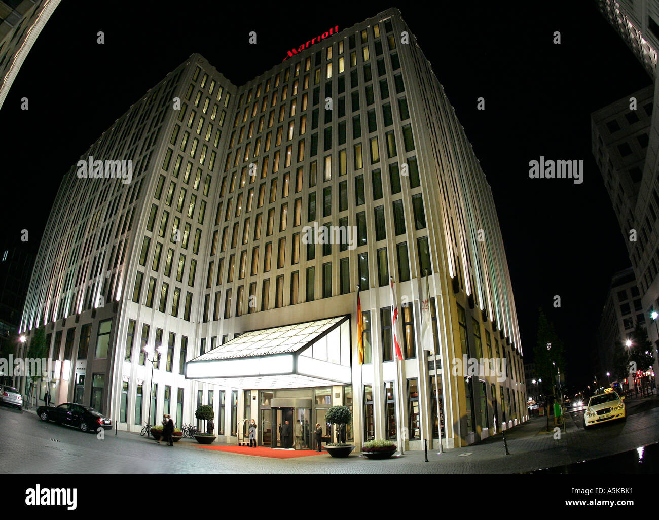 Mariott Hotel at Inge Beisheim Plaza in Berlin during the Festival of Lights - Stock Image
