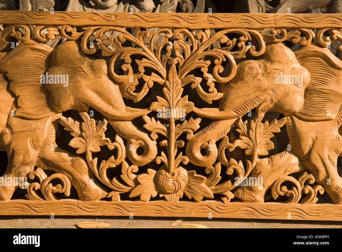 Wood carving elephant stock photos