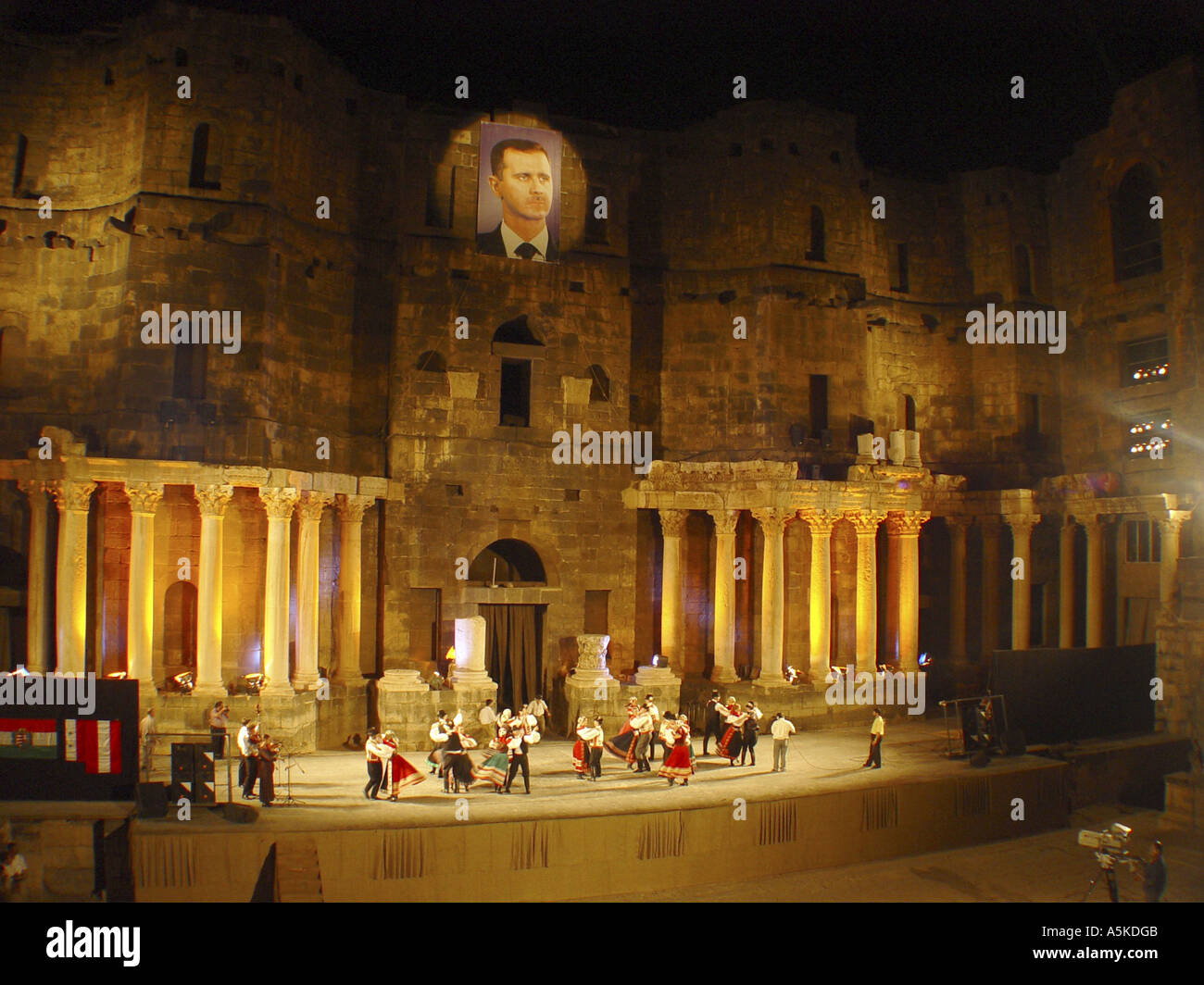 Performance in the roman theatre in Bosra - Stock Image