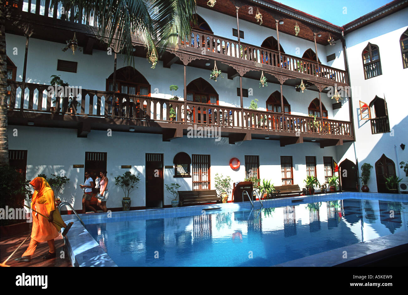Swimming pool at theTembo Palace Hotel Stone Town Unguja Zanzibar Tanzania East Africa Stock Photo