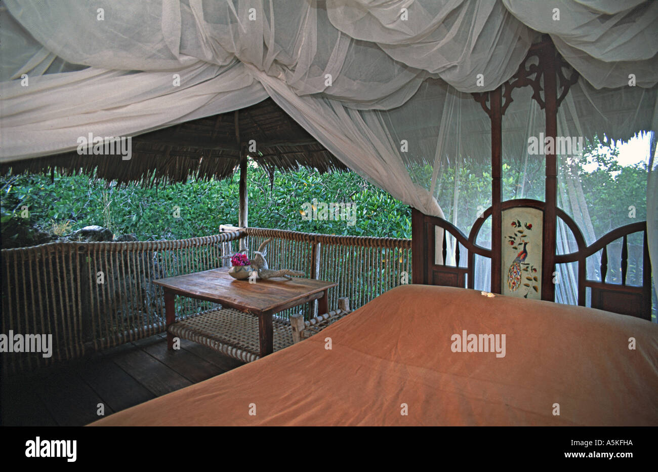 Tasteful but simple interior of one of the luxury treehouses at Chole Mjini Adjacent to Mafia island Tanzania Stock Photo