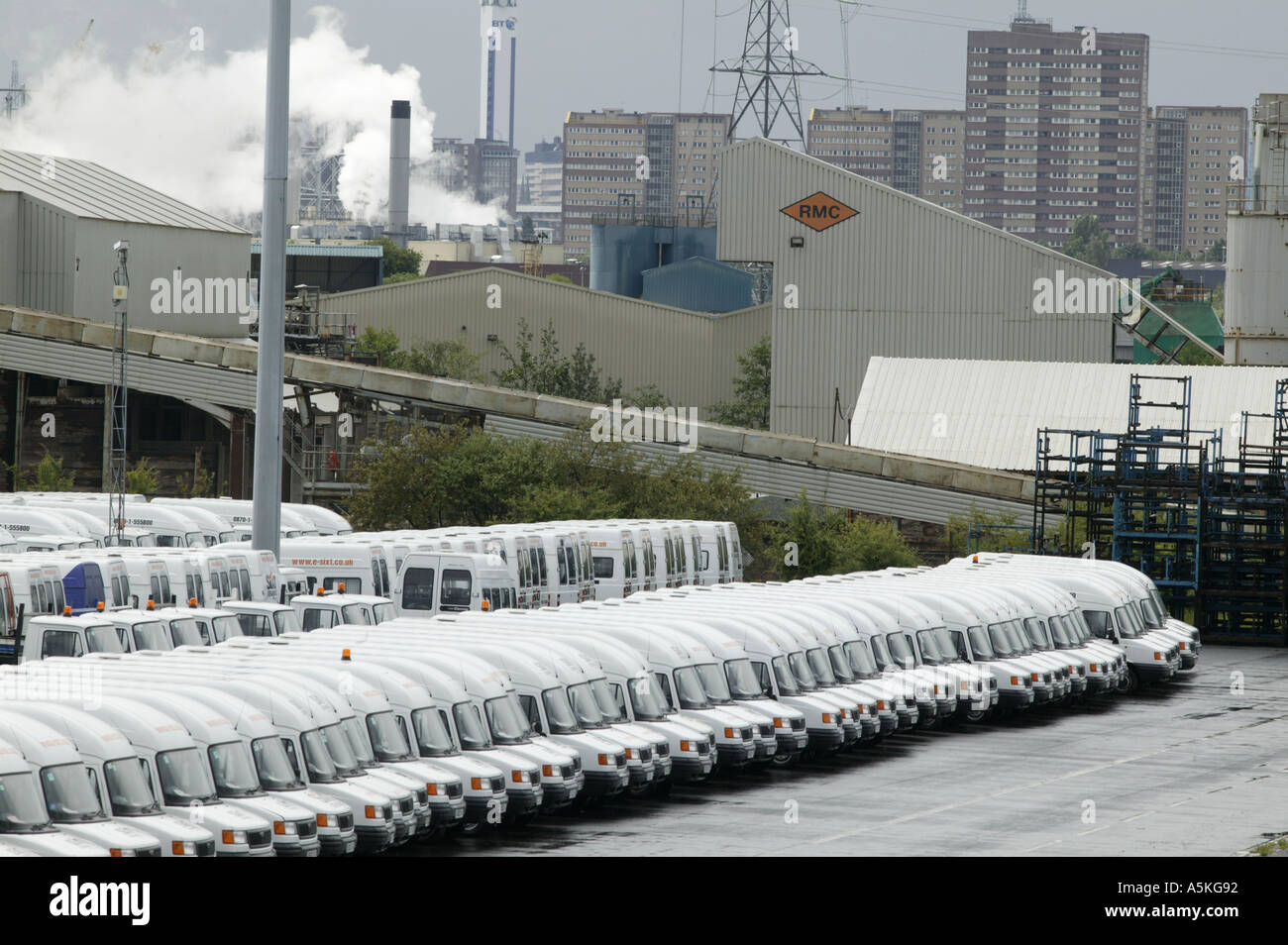 Brand new LDV vans parked in a parking lot at the LDV factory in Washford Heath Birmingham UK - Stock Image