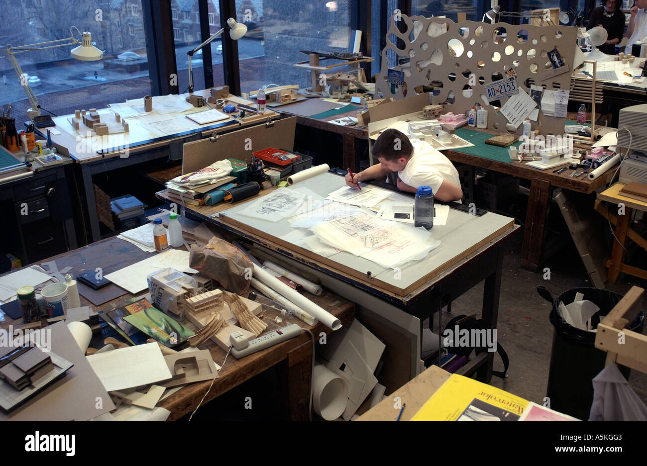 Architecture Student At Drafting Table At The Yale School Of Architecture,  New Haven Connecticut USA