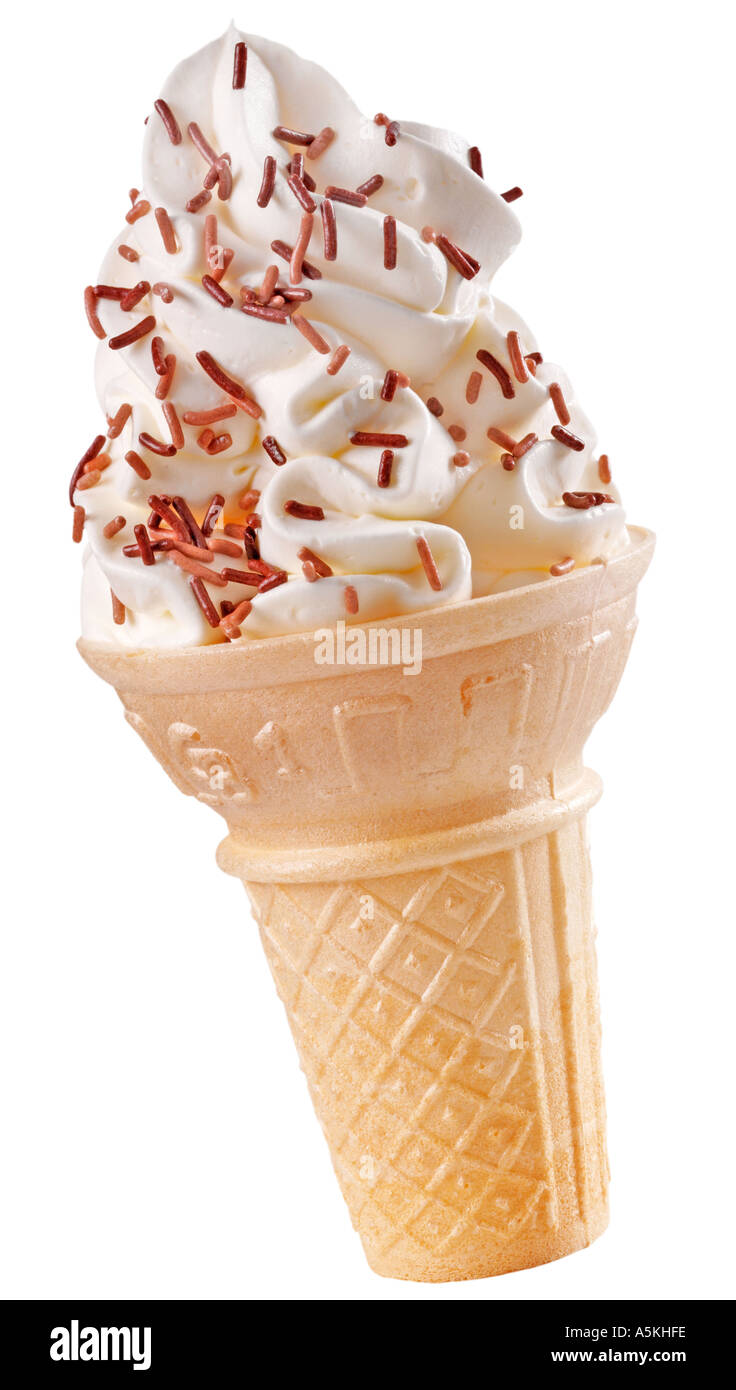 VANILLA ICE CREAM CONE WITH CHOCOLATE SPRINKLES Stock ...
