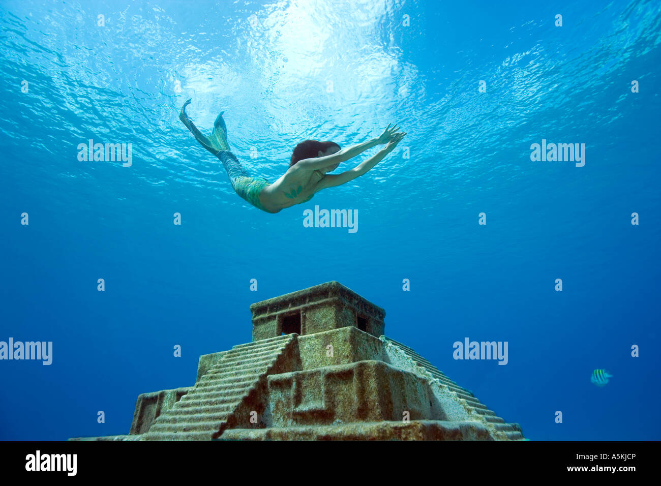 Mermaid freediving over Mayan temple west side Cozumel Mexico - Stock Image