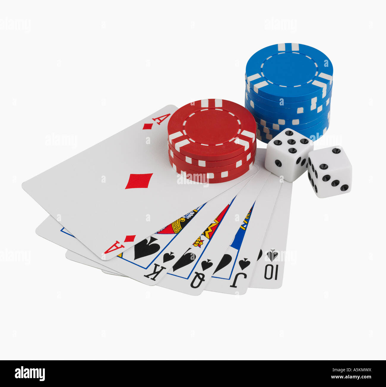 Studio shot of playing cards and poker chips - Stock Image