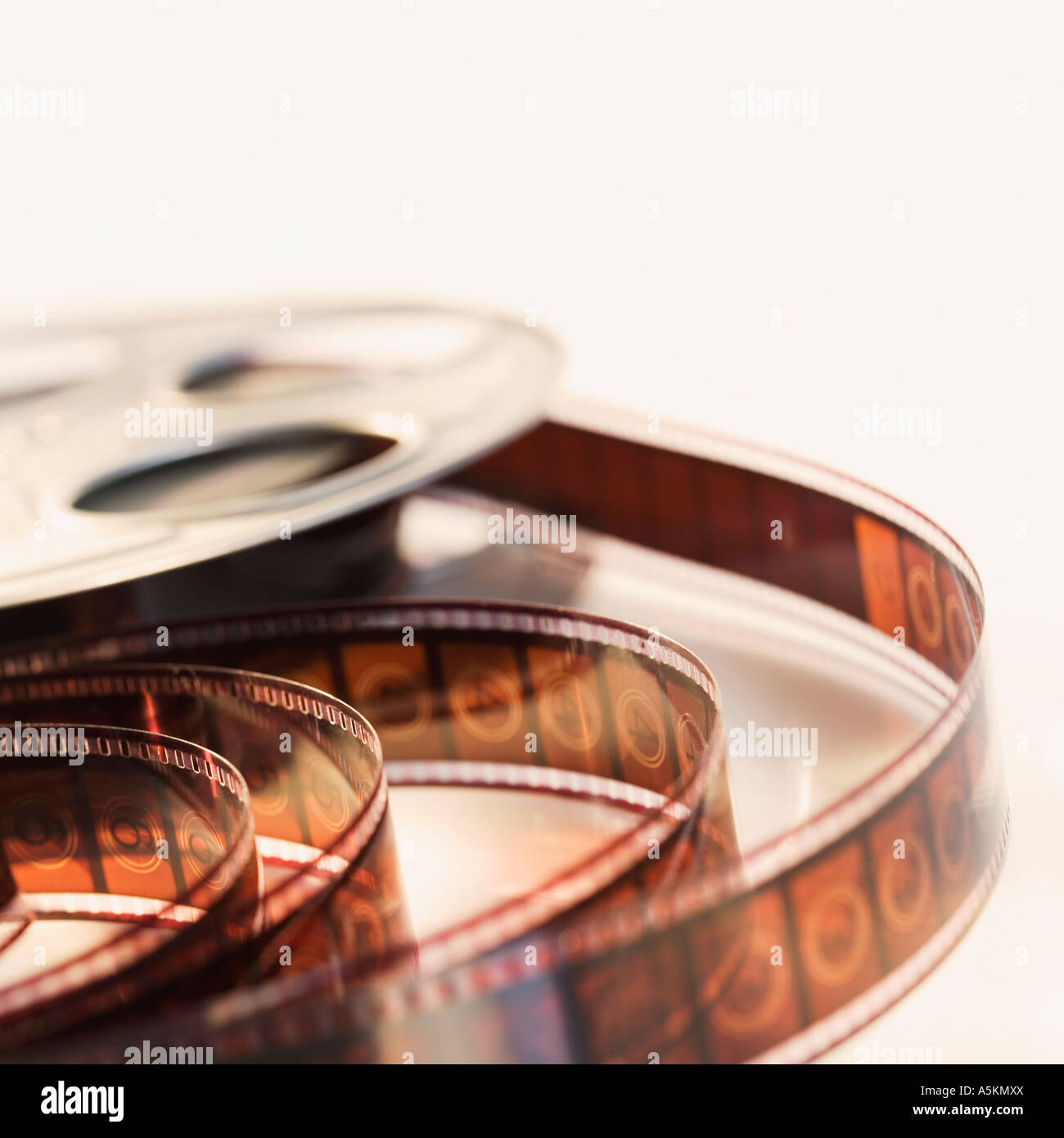 Close up of reel of movie film - Stock Image
