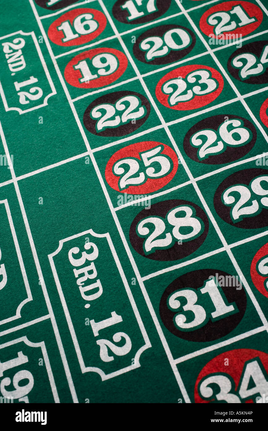 Close up of roulette table - Stock Image