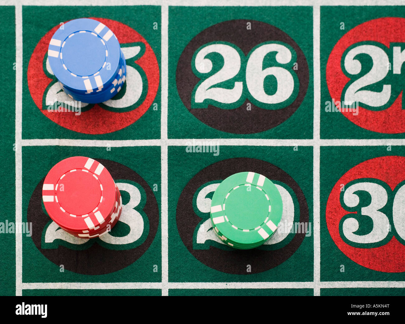 Close up of bets on roulette table - Stock Image