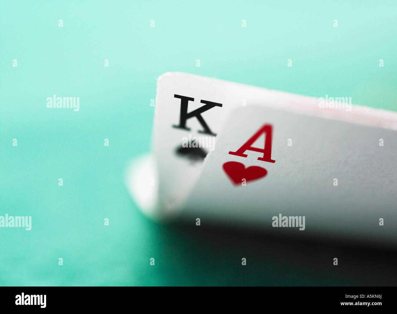 Close up of winning blackjack hand - Stock Image