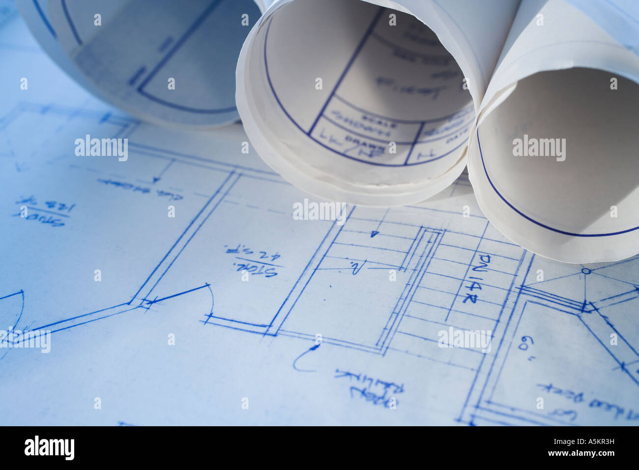 Close up of blueprints - Stock Image