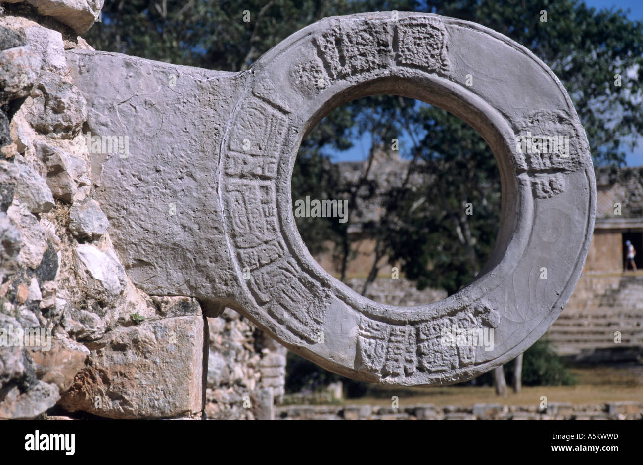 Mexico yucatan state uxmal ball court details of a stone hoop used as the goal for the mayan ball game - Stock Image