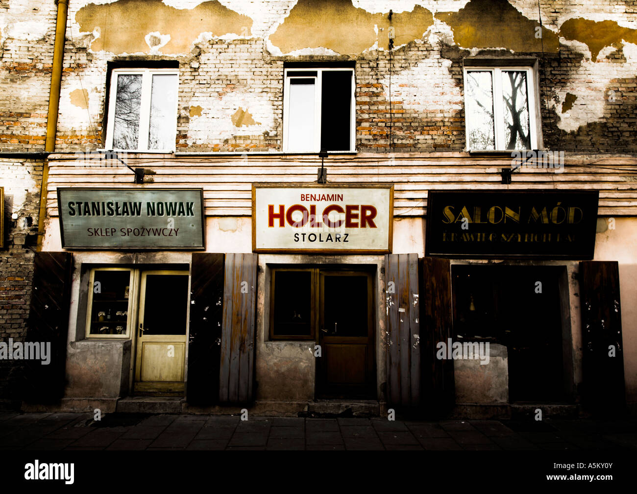 Shopfront of period-themed restaruant 'Once Upon A Time in Kazimierz', in the Jewish Quarter of Krakow - Stock Image