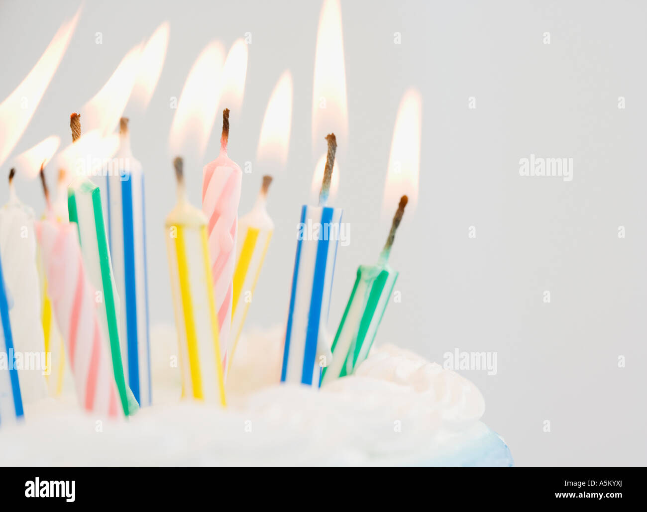 close up of lit birthday candles stock photo 11339753 alamy