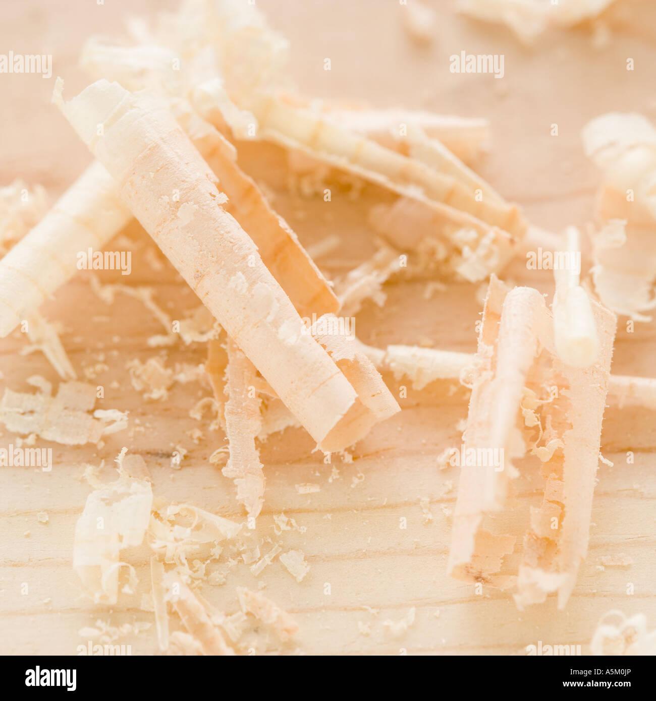 Close up of wood shavings Stock Photo