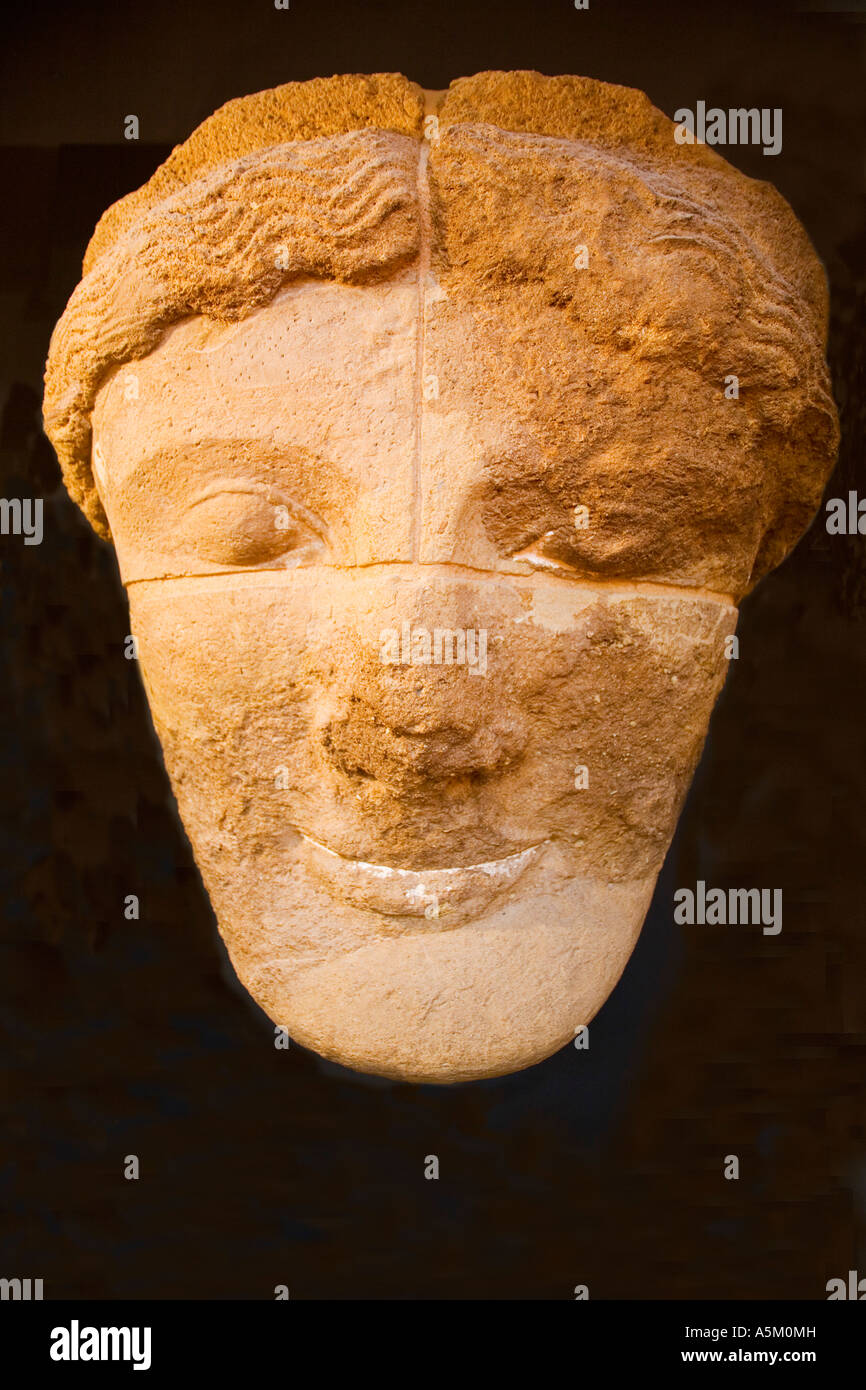 Archeological Museum of Archaeology Head of giant figure from Temple of Olympian Zeus at Agrigento Sicily Italy - Stock Image