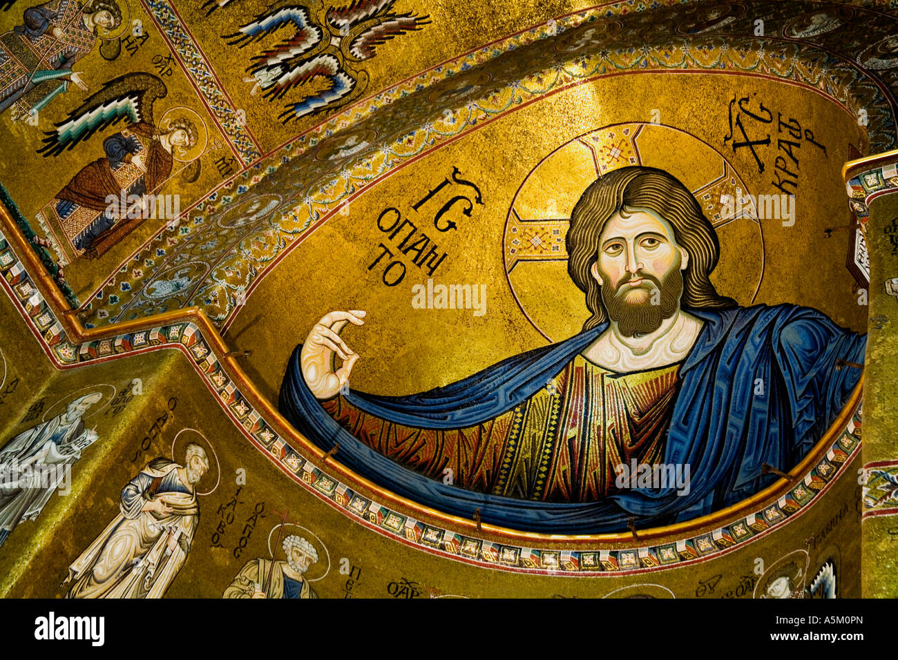 Jesus Christ Mosaic in Monreale Cathedral near Palermo Sicily Italy Europe - Stock Image