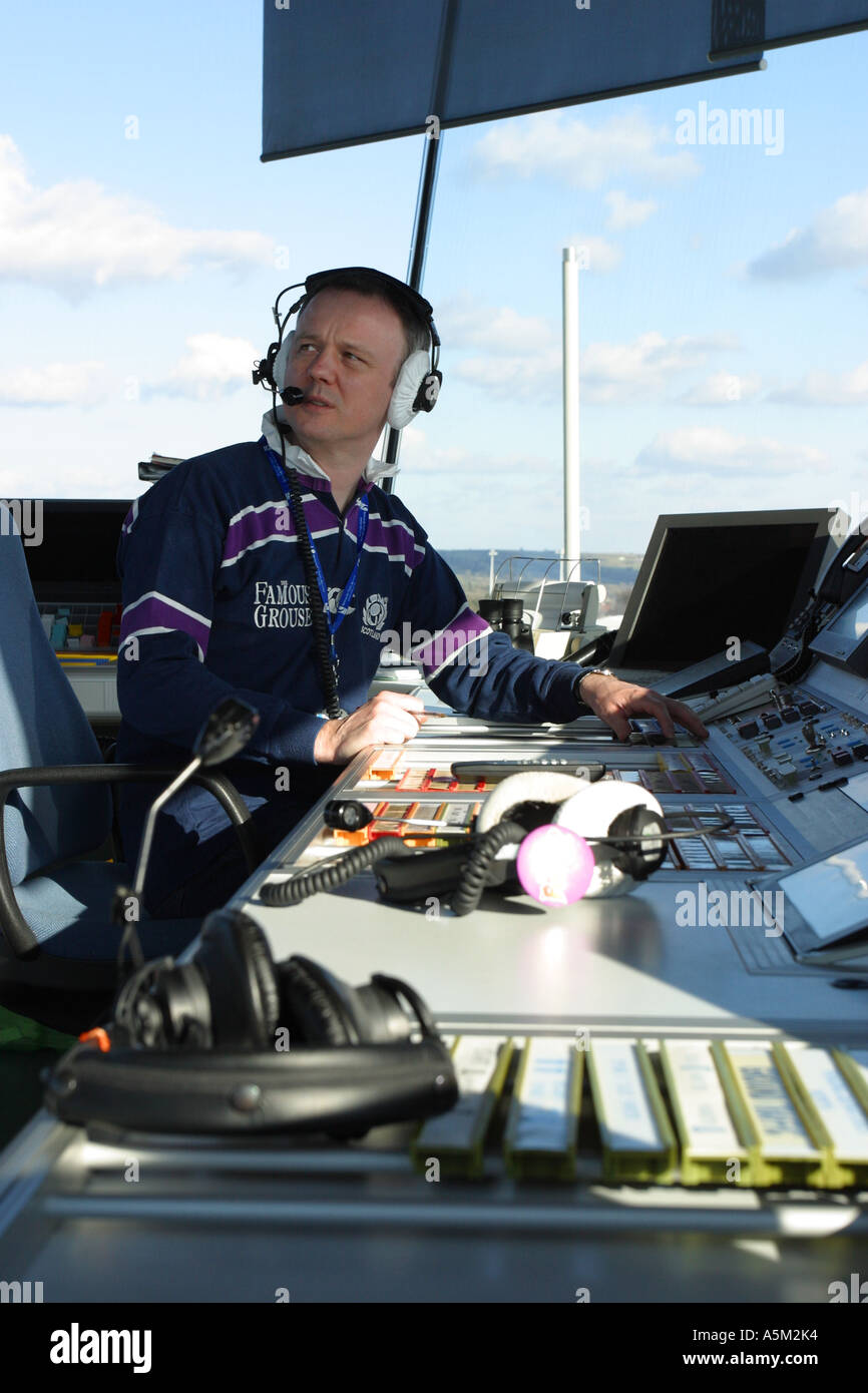 Air Traffic Controller in airport ATC control tower - Stock Image