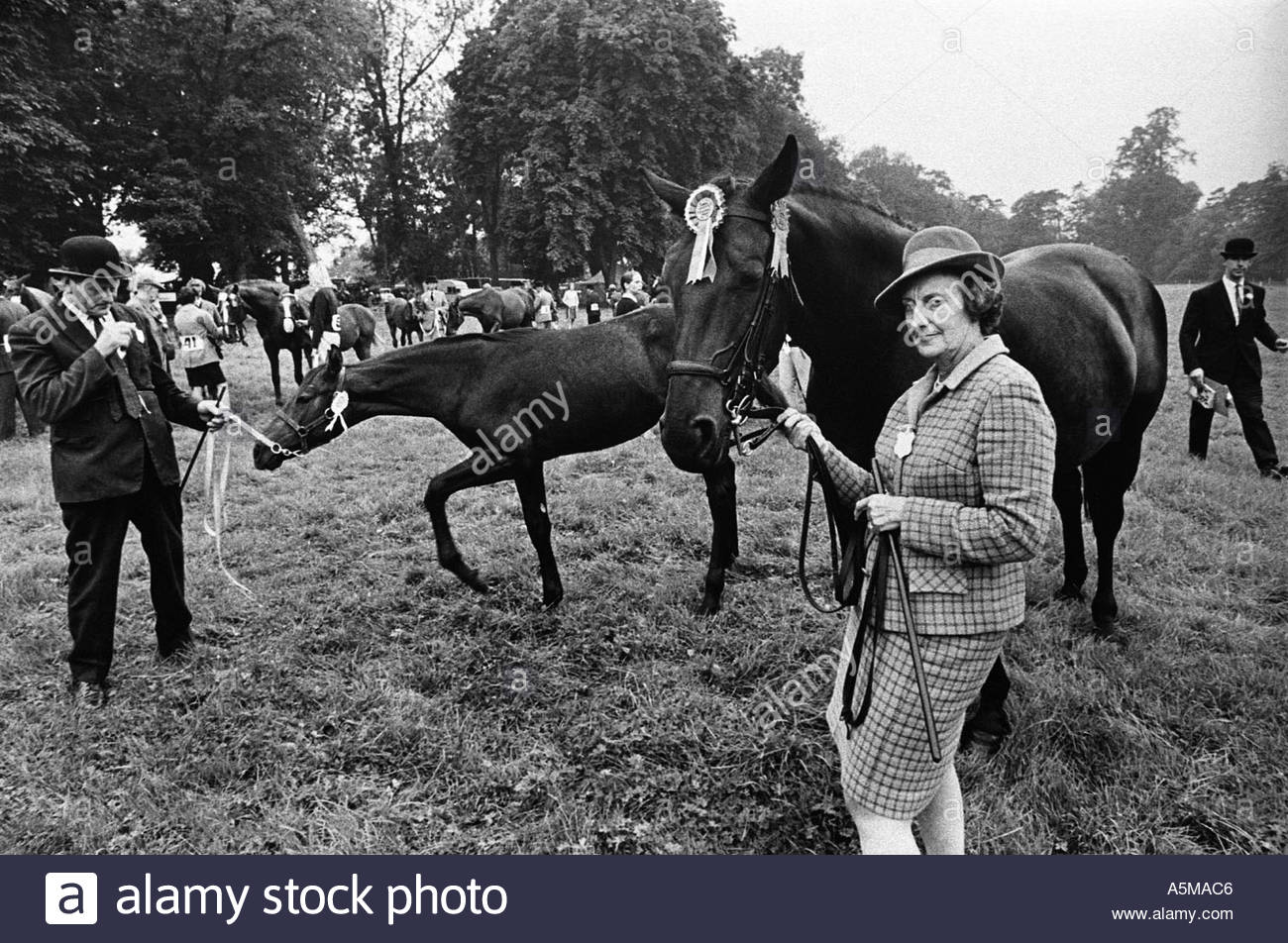 Stern gaze from a competitor in the horse judging at at the Aylsbury County Show, UK - Stock Image