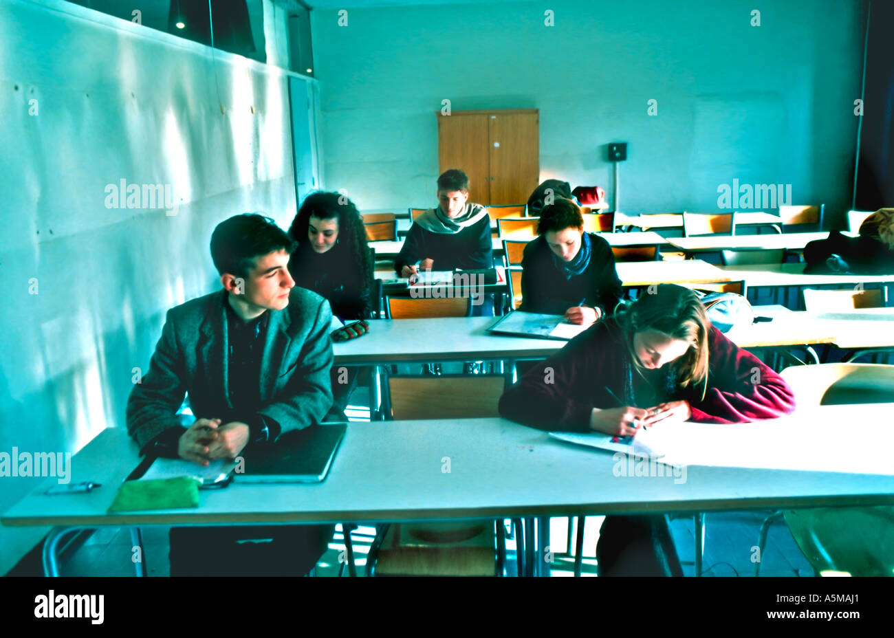 Education, Paris France, Mixed Group Gender Race, French Teens in High School Classroom, Group Teens Studying, Lycee exam, Schools from around world - Stock Image