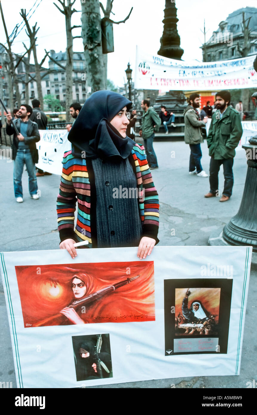 Paris France, Veiled Woman Activist Demonstration of Iranians Living in France In Support of 'Iranian Revolution' Khomeini Racism Arabs - Stock Image