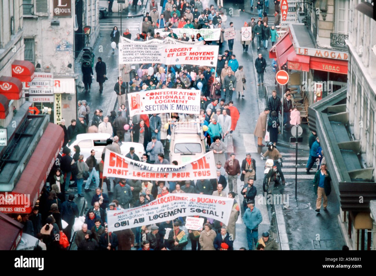 Paris France, Demonstration of French Building Unions, Demanding Funding for Housing Construction from Government, Strike - Stock Image