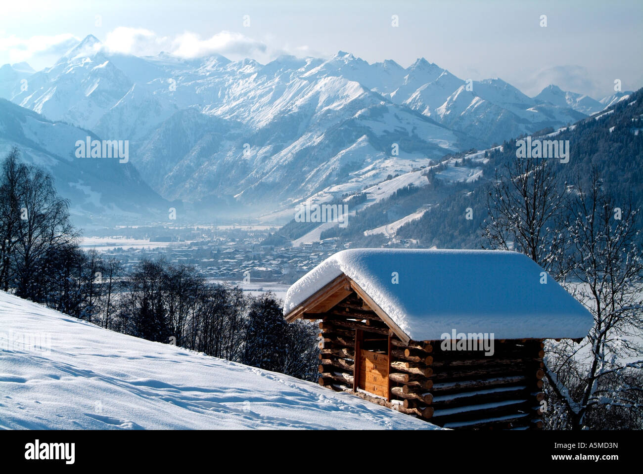 Town of Kaprun and Grossglockner group of mountains Austria Stock Photo