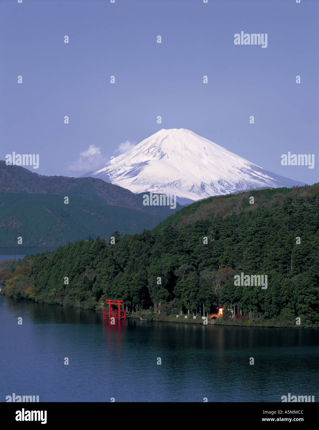 Mt Fuji and Lake Ashi Japan - Stock Image