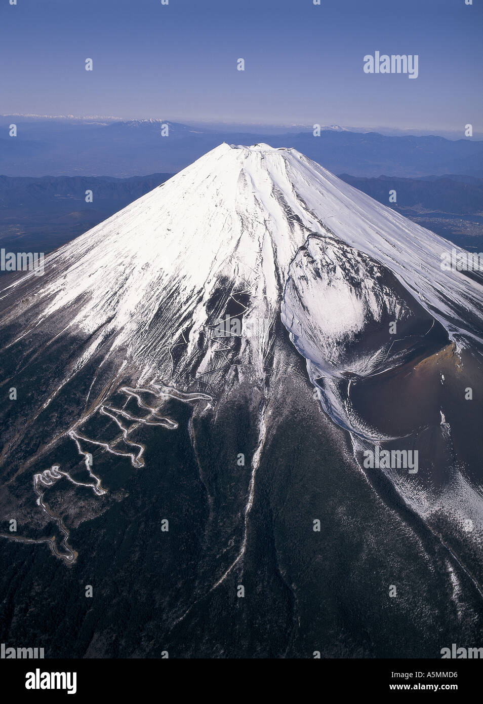 Aerial view of Mt Fuji Japan - Stock Image
