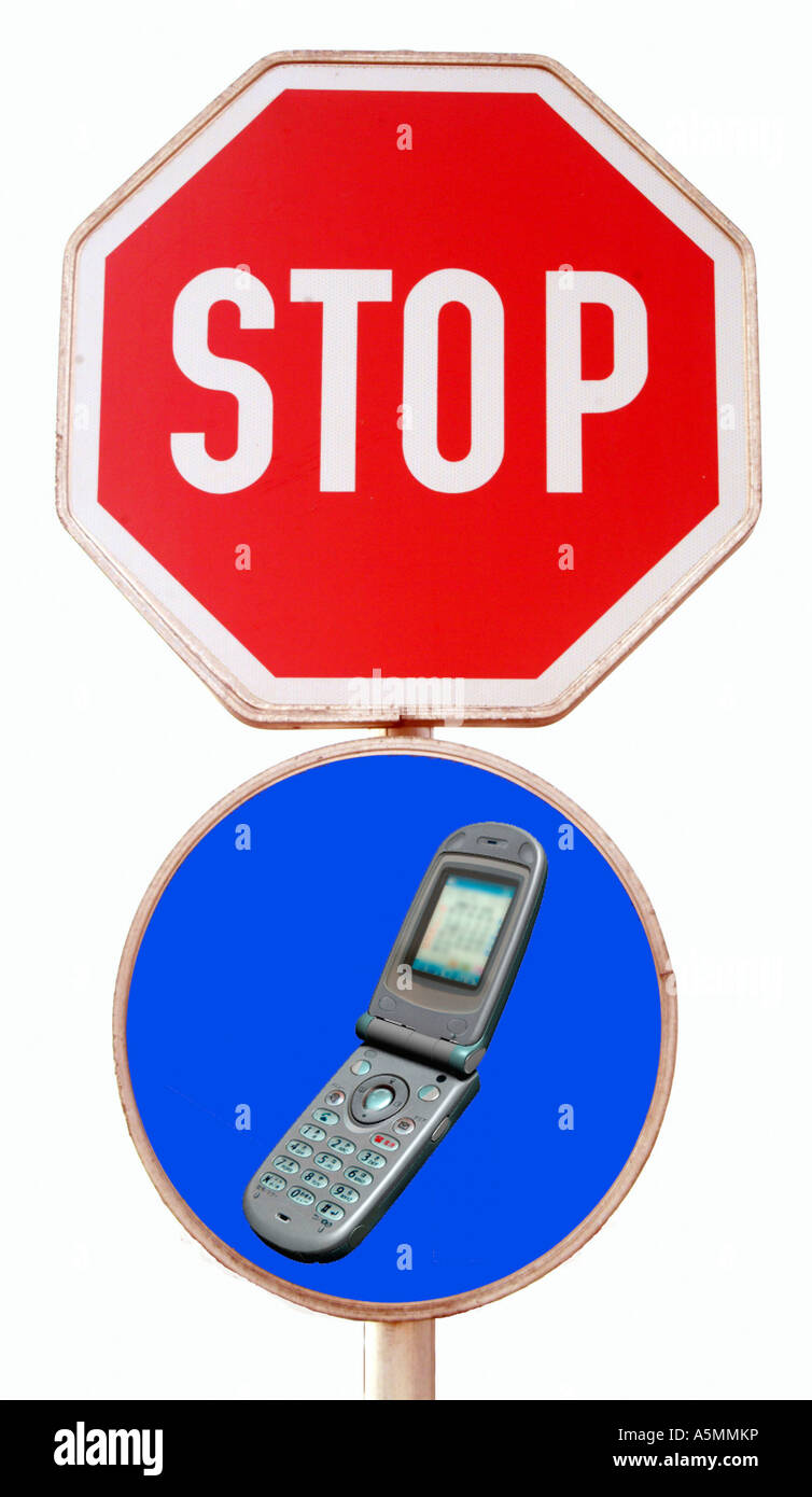 Symbolbild Stop Handy Handyverbot am Steuer symbolic for stop mobile